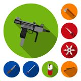 Types of weapons flat icons in set collection for design.Firearms and bladed weapons vector symbol stock web. Types of weapons flat icons in set collection for Stock Photo