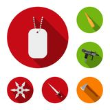 Types of weapons flat icons in set collection for design.Firearms and bladed weapons vector symbol stock web. Types of weapons flat icons in set collection for Royalty Free Stock Images