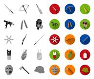 Types of weapons mono,flat icons in set collection for design.Firearms and bladed weapons vector symbol stock web royalty free illustration