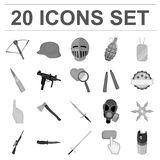 Types of weapons monochrome icons in set collection for design.Firearms and bladed weapons vector symbol stock web. Types of weapons monochrome icons in set Stock Image