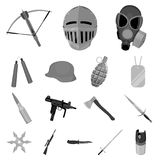 Types of weapons monochrome icons in set collection for design.Firearms and bladed weapons vector symbol stock web. Types of weapons monochrome icons in set Stock Images