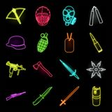 Types of weapons neon icons in set collection for design.Firearms and bladed weapons vector symbol stock web stock illustration