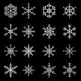 16 types of white snowflakes Stock Image
