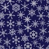 16 types of white snowflakes in seamless pattern Stock Photos