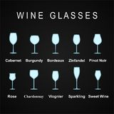 Types of Wine Glasses, set icons. Vector Illustration Stock Photography