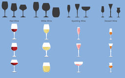 Types of Wine and Glasses. Set of types of wine and glasses Royalty Free Stock Photography
