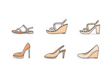 Types of woman shoes. Set of different types of footwear. Six icons kinds of shoes . Brown signs. Vector illustration of woman  summer and classic shoes Royalty Free Stock Images