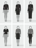 Types of women's clothes, black and gray drawings. Female figure with categories women's clothing. Black and grey, vector illustration. For printing and vector illustration