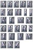 Typescript alphabet upper-case. 3D rendering of an alphabet in metallic typescript print letter cases (upper-case vector illustration