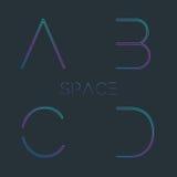 Typescript. Font with minimal design. Typographic alphabet in a set. Futuristic alphabet Royalty Free Stock Photo
