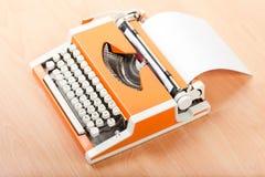 Typescript typing typewriter. Typescript hand typing typewriter blank paper text Royalty Free Stock Photo