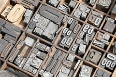 Typeset Letters and Numbers. Closeup of typeset letters and numbers in an old wooden box Royalty Free Stock Photography