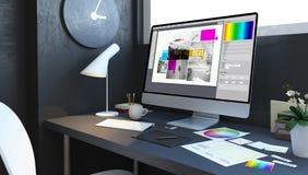 Typesetting design workspace. Typesetting design workplace mockup interior 3d rendering vector illustration