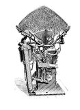 Typesetting machine for print composition, vintage engraving. Typography, typesetting machine for print composition, XIX century Stock Photo