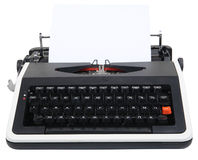 Typewriter. Old typewriter isolated on white with clipping path Royalty Free Stock Photos