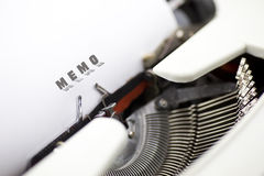 Typewriter. Writing memo for a notice Stock Images