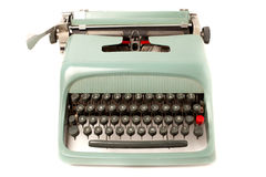 Typewriter. Retro typewriter front view isolated on white royalty free stock photo