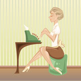 Typewriter. Graceful women sitting and writing with inspiration on her green typewriter Stock Images