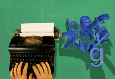 Typewriter and 3d letters. Hands type on an old fashioned typewriter as 3d letters fall to the ground stock illustration