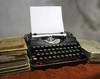 Typewriter. Old books and old typewriter Royalty Free Stock Images
