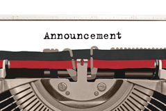 Typewriter Announcement Royalty Free Stock Photography