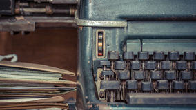 Typewriter antique vintage style and old documents Stock Photos