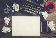 Typewriter and blank paper Stock Photography