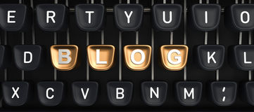 Typewriter with Blog buttons Stock Photo