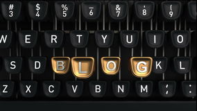 Typewriter with Blog buttons. Typewriter with gold buttons in a row, assembling blog word stock video