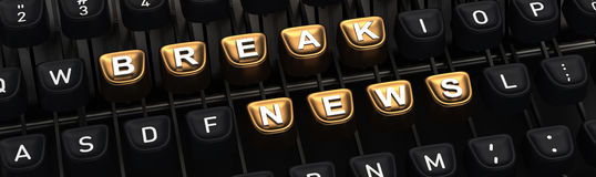 Typewriter with BRAKE NEWS buttons Stock Photography