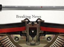 Typewriter with Breaking News Royalty Free Stock Photography