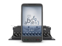 Typewriter and cell phone Stock Photography