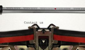 Typewriter Close Up with Contact us Royalty Free Stock Photography