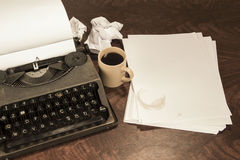 Typewriter coffee and paper Royalty Free Stock Photo