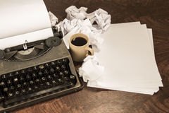 Typewriter coffee and paper Royalty Free Stock Photography