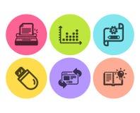 Typewriter, Cogwheel blueprint and Refresh website icons set. Dot plot, Usb stick and Product knowledge signs. Vector. Typewriter, Cogwheel blueprint and Refresh royalty free illustration