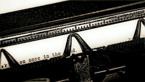 Typewriter converted to cartoon with fairytale text stock video