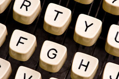 Typewriter details. Close up of typewriter keys Stock Photo