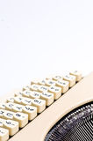 Typewriter details. Vintage typewriter on white background, detail of keys stock images