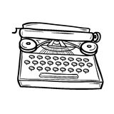 Typewriter in doodle style. Retro device. Hand drawn vector illustration isolated on white Royalty Free Stock Image