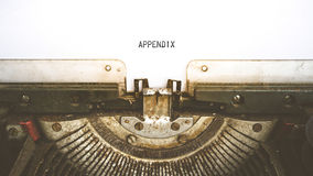 Typewriter and empty white paper with a word Appendix , vintage Stock Photography