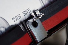 Typewriter - The End stock image