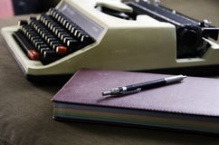 Typewriter. With a fabric background Stock Photo