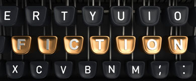 Typewriter with FICTION buttons. Typewriter with gold buttons in a row, assembling FICTION word Stock Image
