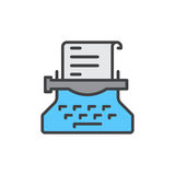 Typewriter filled outline icon, Copywriting vector sign Royalty Free Stock Photo