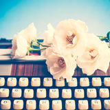 Typewriter and Flowers Stock Image