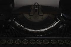 Mechanism of typewriter typewriter, black background stock photography