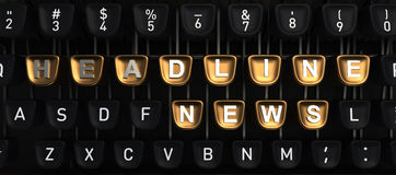 Typewriter with HEADLINE NEWS buttons Stock Photos