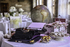 Typewriter i globe Stock Photo