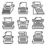 Typewriter icons set, outline style vector illustration